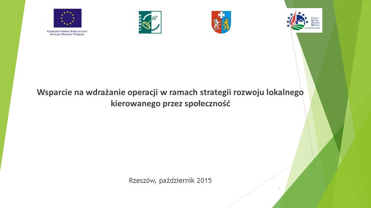 Wsparcie na wdrażanie operacji w ramach strategii rozwoju lokalnego kierowanego przez społeczność Rzeszów, październik 2015 1