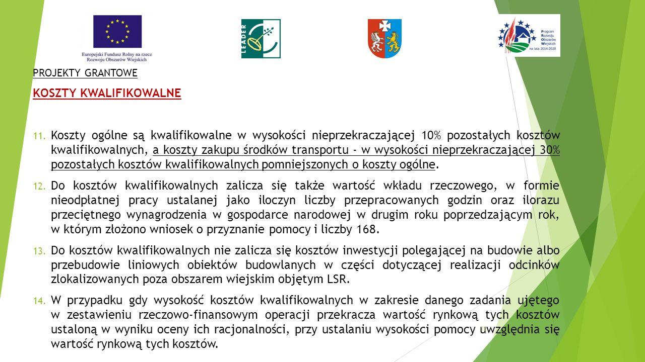 PROJEKTY GRANTOWE KOSZTY KWALIFIKOWALNE 11.
