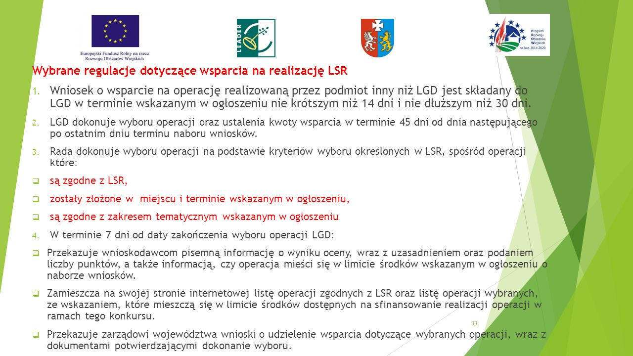 Wybrane regulacje dotyczące wsparcia na realizację LSR 1.