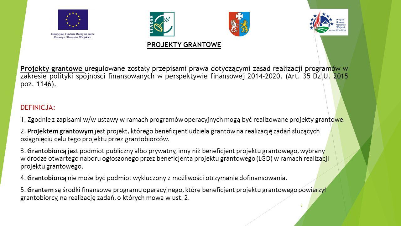 PROJEKTY GRANTOWE Projekty grantowe uregulowane zostały przepisami prawa dotyczącymi zasad realizacji programów w zakresie polityki spójności finansowanych w perspektywie finansowej 2014–2020.