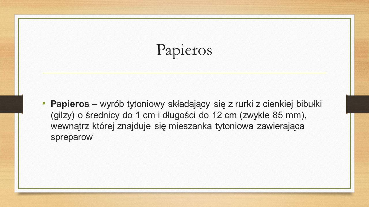 Papieros Papieros – wyrób tytoniowy składający się z rurki z cienkiej bibułki (gilzy) o średnicy do 1 cm i długości do 12 cm (zwykle 85 mm), wewnątrz