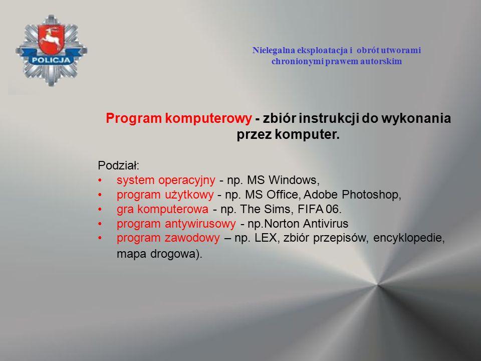 Program komputerowy - zbiór instrukcji do wykonania przez komputer. Podział: system operacyjny - np. MS Windows, program użytkowy - np. MS Office, Ado