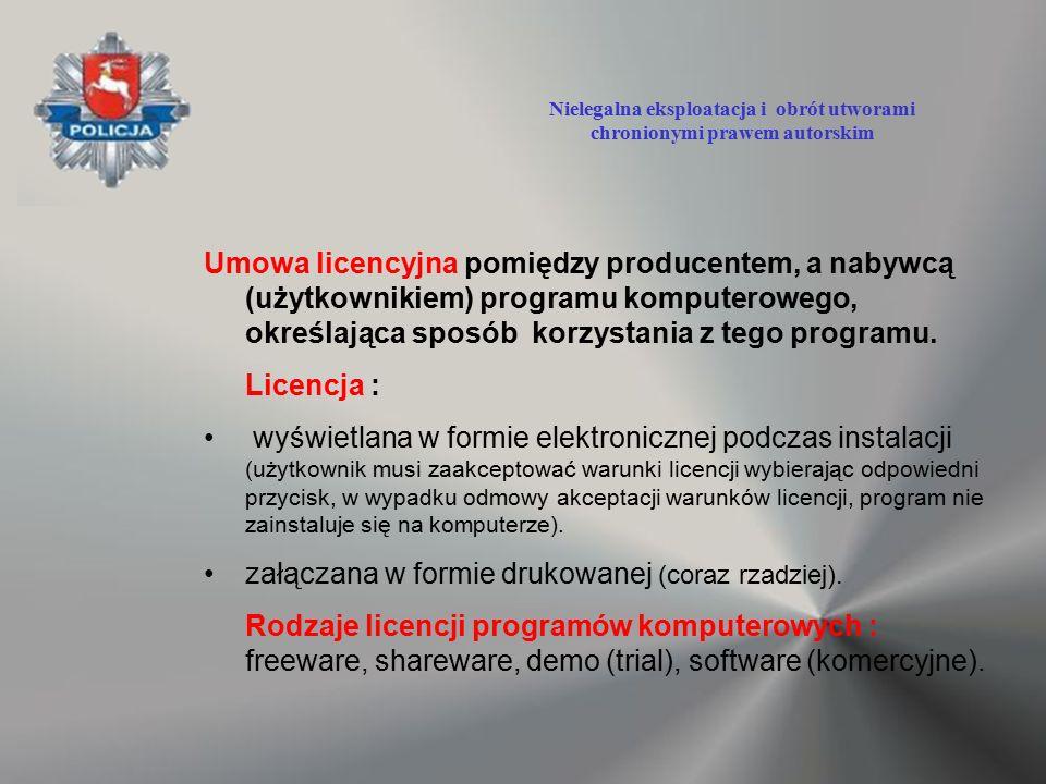 Umowa licencyjna pomiędzy producentem, a nabywcą (użytkownikiem) programu komputerowego, określająca sposób korzystania z tego programu. Licencja : wy