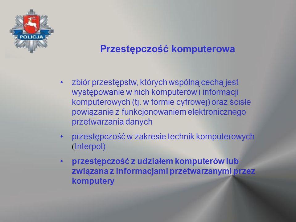 Przestępczość komputerowa zbiór przestępstw, których wspólną cechą jest występowanie w nich komputerów i informacji komputerowych (tj. w formie cyfrow