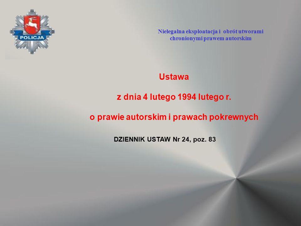 Ustawa z dnia 4 lutego 1994 lutego r. o prawie autorskim i prawach pokrewnych DZIENNIK USTAW Nr 24, poz. 83 Nielegalna eksploatacja i obrót utworami c