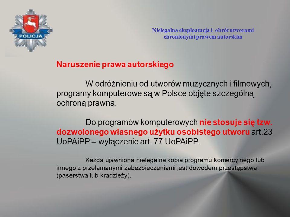 Naruszenie prawa autorskiego W odróżnieniu od utworów muzycznych i filmowych, programy komputerowe są w Polsce objęte szczególną ochroną prawną. Do pr