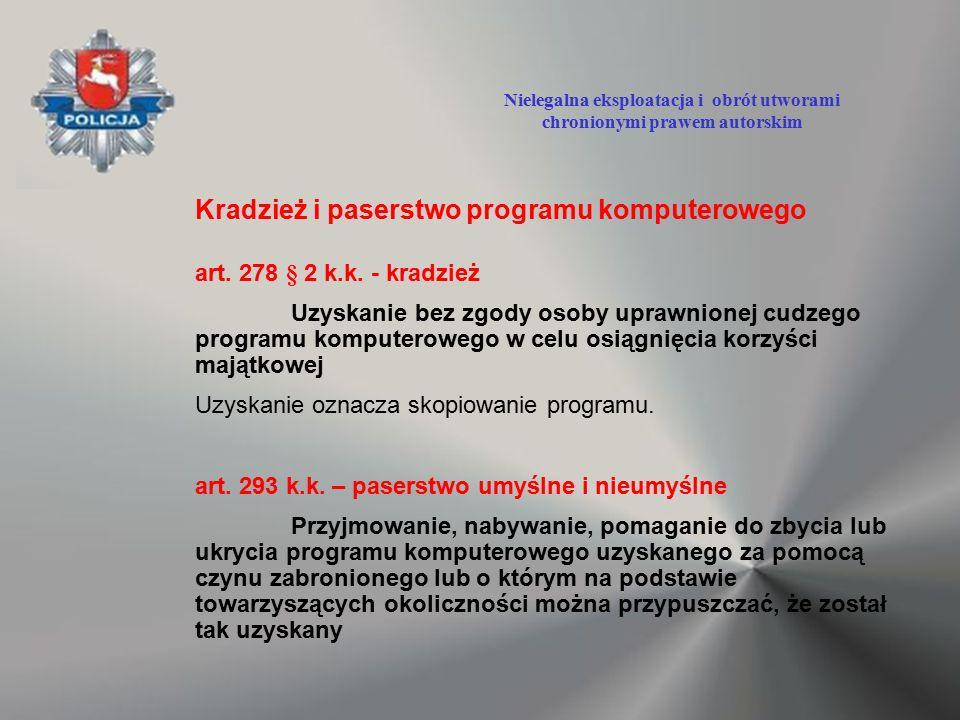 Kradzież i paserstwo programu komputerowego art. 278 § 2 k.k. - kradzież Uzyskanie bez zgody osoby uprawnionej cudzego programu komputerowego w celu o