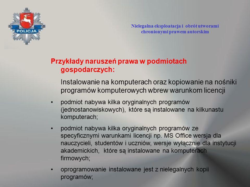 Przykłady naruszeń prawa w podmiotach gospodarczych: Instalowanie na komputerach oraz kopiowanie na nośniki programów komputerowych wbrew warunkom lic