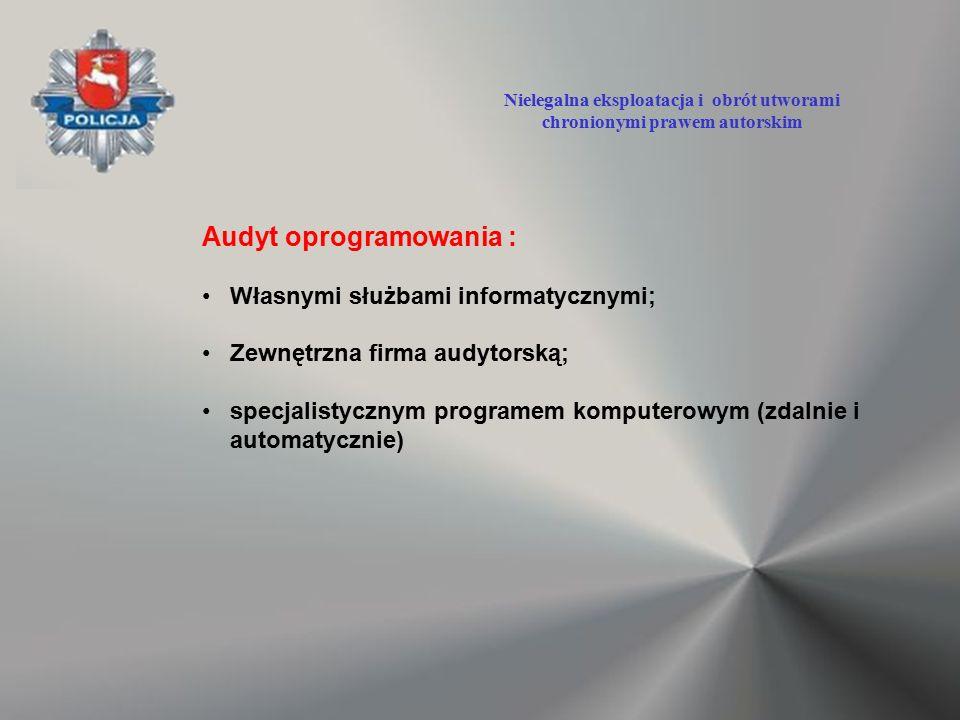 Audyt oprogramowania : Własnymi służbami informatycznymi; Zewnętrzna firma audytorską; specjalistycznym programem komputerowym (zdalnie i automatyczni