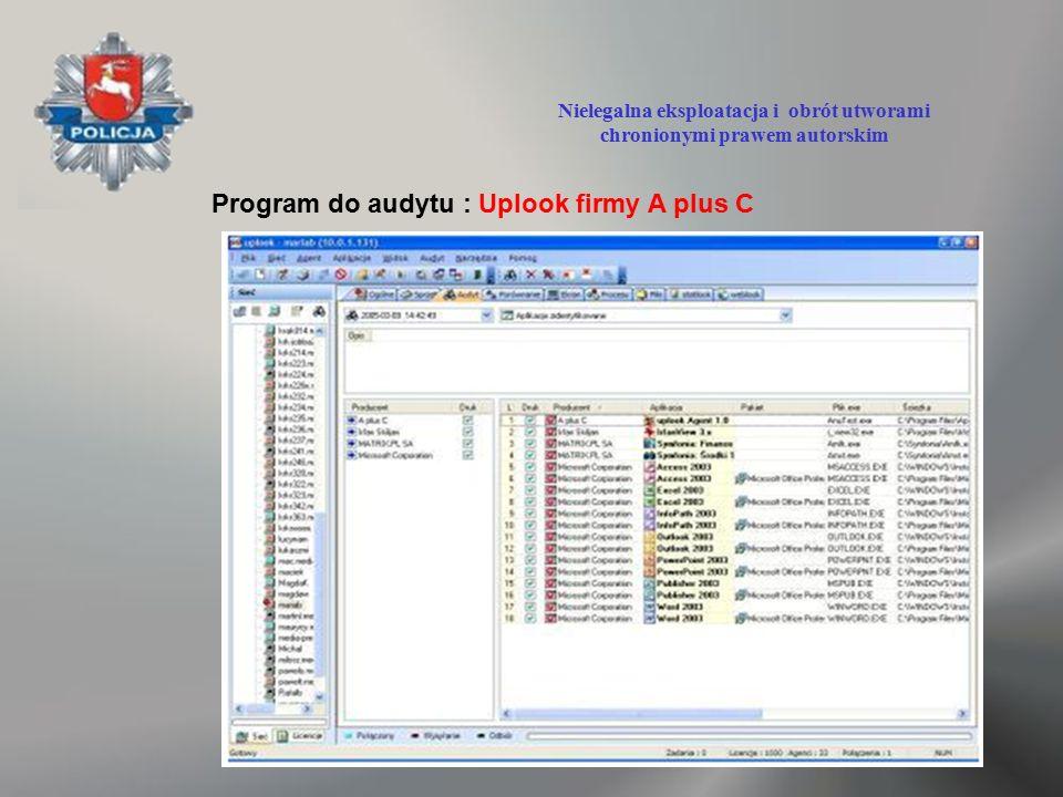 Program do audytu : Uplook firmy A plus C Nielegalna eksploatacja i obrót utworami chronionymi prawem autorskim