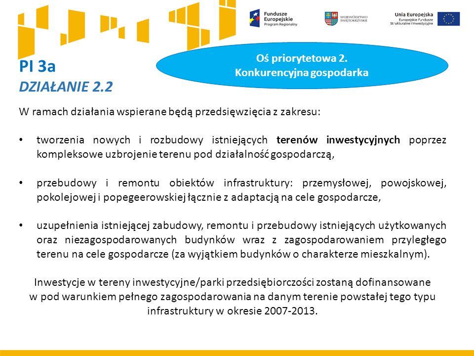 PI 3a DZIAŁANIE 2.2 W ramach działania wspierane będą przedsięwzięcia z zakresu: tworzenia nowych i rozbudowy istniejących terenów inwestycyjnych poprzez kompleksowe uzbrojenie terenu pod działalność gospodarczą, przebudowy i remontu obiektów infrastruktury: przemysłowej, powojskowej, pokolejowej i popegeerowskiej łącznie z adaptacją na cele gospodarcze, uzupełnienia istniejącej zabudowy, remontu i przebudowy istniejących użytkowanych oraz niezagospodarowanych budynków wraz z zagospodarowaniem przyległego terenu na cele gospodarcze (za wyjątkiem budynków o charakterze mieszkalnym).