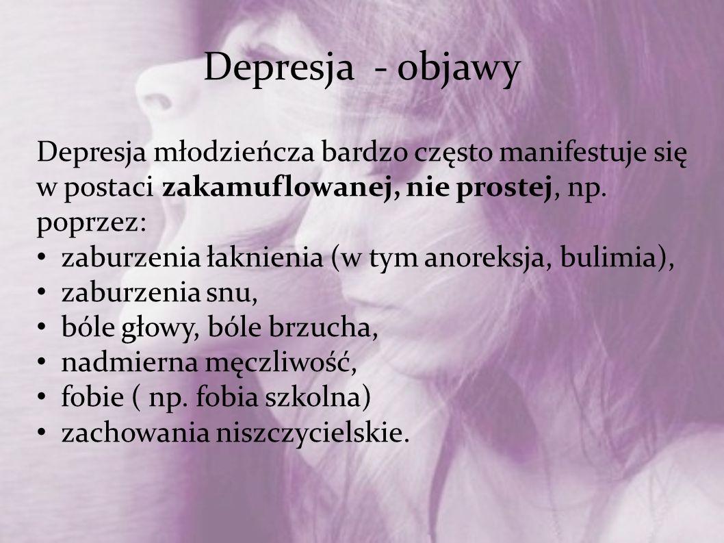 Depresja - objawy Depresja młodzieńcza bardzo często manifestuje się w postaci zakamuflowanej, nie prostej, np. poprzez: zaburzenia łaknienia (w tym a