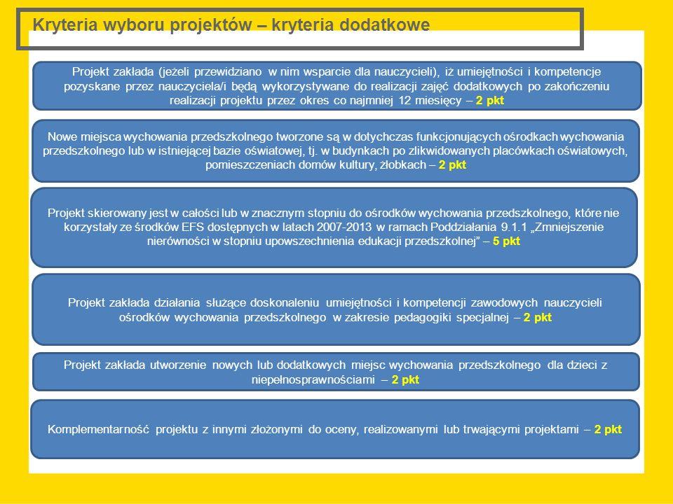 Kryteria wyboru projektów – kryteria dodatkowe Projekt zakłada (jeżeli przewidziano w nim wsparcie dla nauczycieli), iż umiejętności i kompetencje poz
