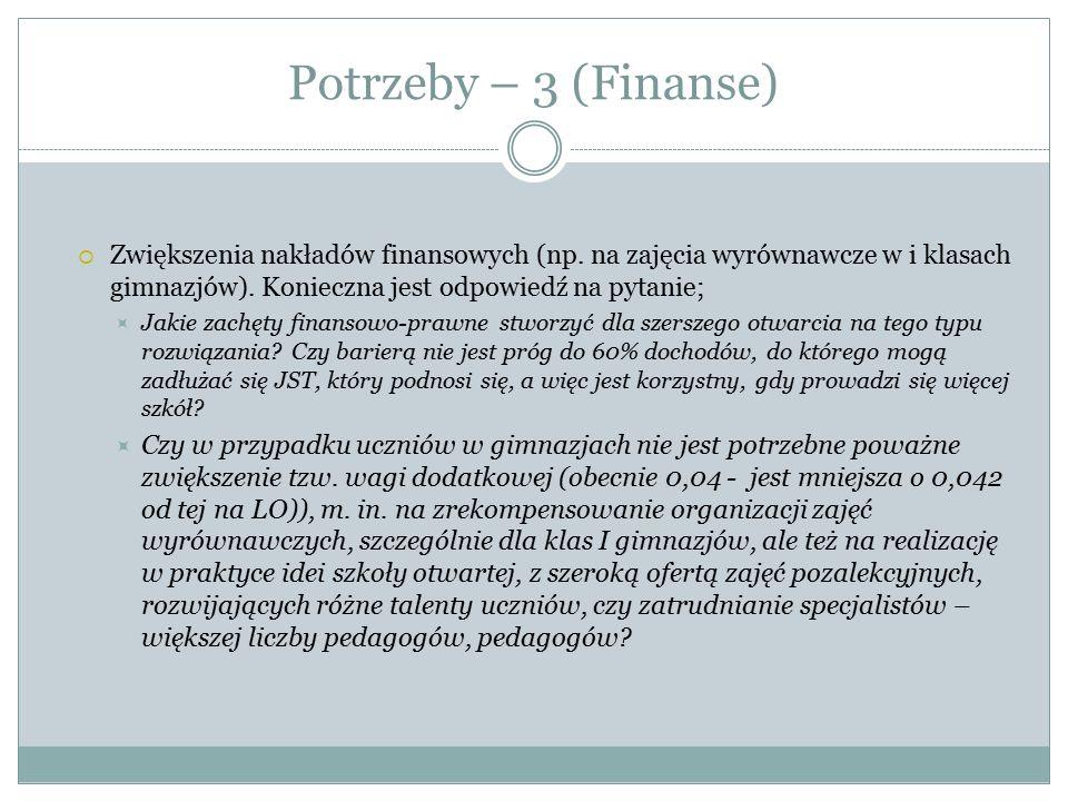 Potrzeby – 3 (Finanse)  Zwiększenia nakładów finansowych (np. na zajęcia wyrównawcze w i klasach gimnazjów). Konieczna jest odpowiedź na pytanie;  J