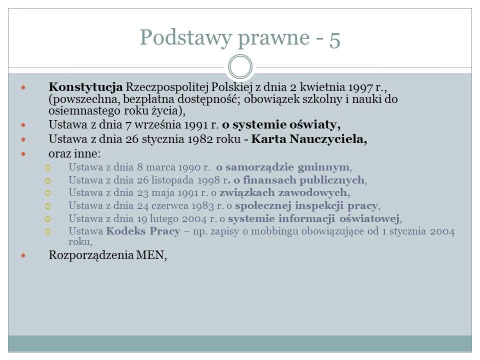 Podstawy prawne - 5 Konstytucja Rzeczpospolitej Polskiej z dnia 2 kwietnia 1997 r., (powszechna, bezpłatna dostępność; obowiązek szkolny i nauki do os