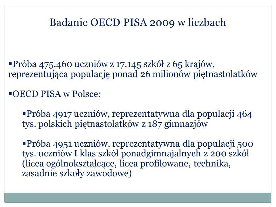 Badanie OECD PISA 2009 w liczbach  Próba 475.460 uczniów z 17.145 szkół z 65 krajów, reprezentująca populację ponad 26 milionów piętnastolatków  OEC