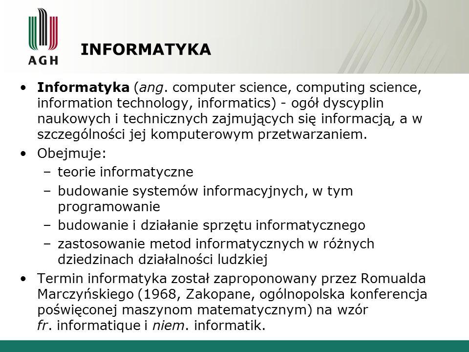 INFORMATYKA Informatyka (ang. computer science, computing science, information technology, informatics) - ogół dyscyplin naukowych i technicznych zajm