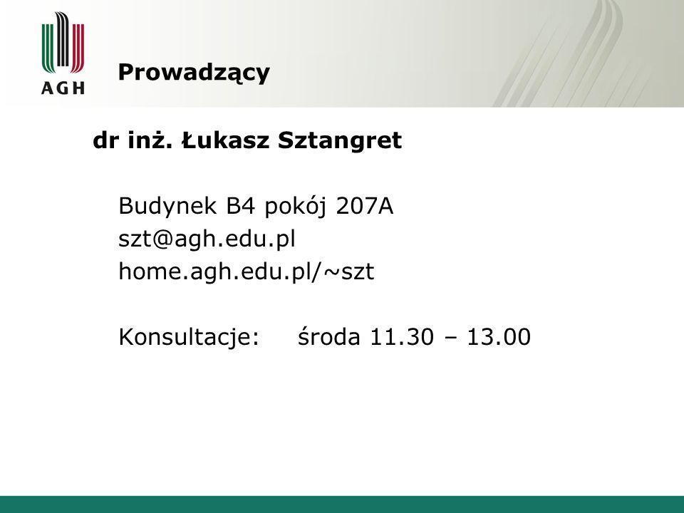 Prowadzący dr inż. Łukasz Sztangret Budynek B4 pokój 207A szt@agh.edu.pl home.agh.edu.pl/~szt Konsultacje:środa 11.30 – 13.00