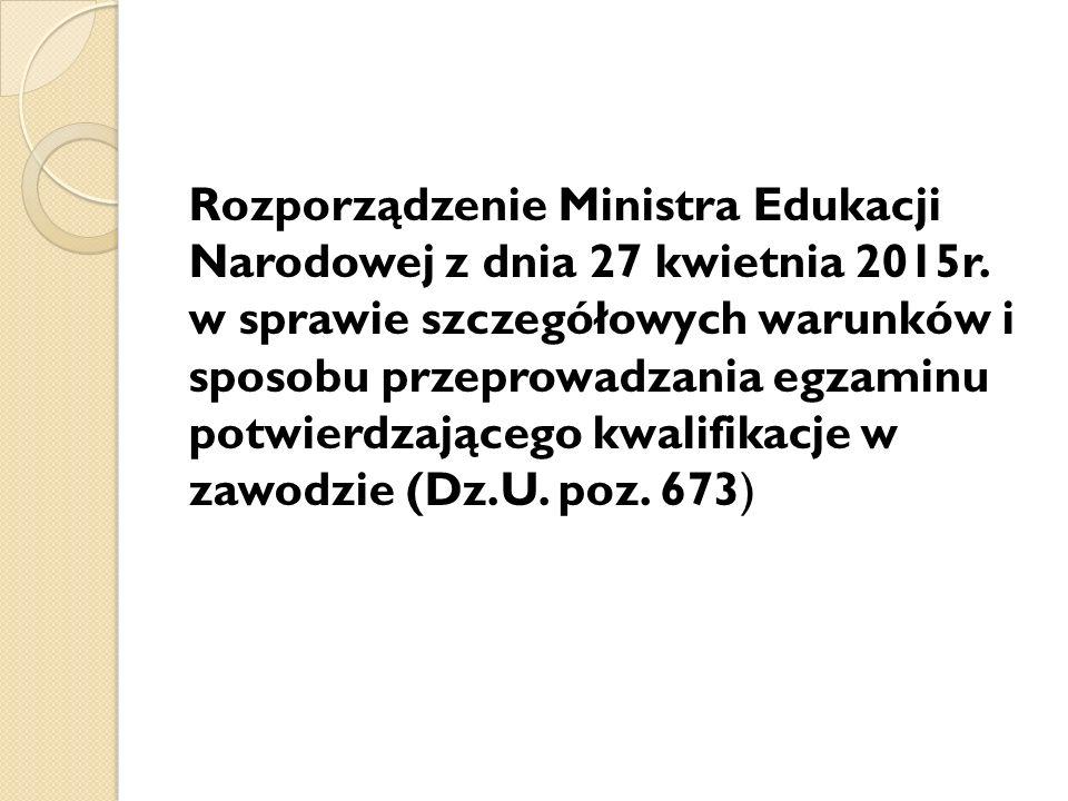 Rozporządzenie Ministra Edukacji Narodowej z dnia 27 kwietnia 2015r.