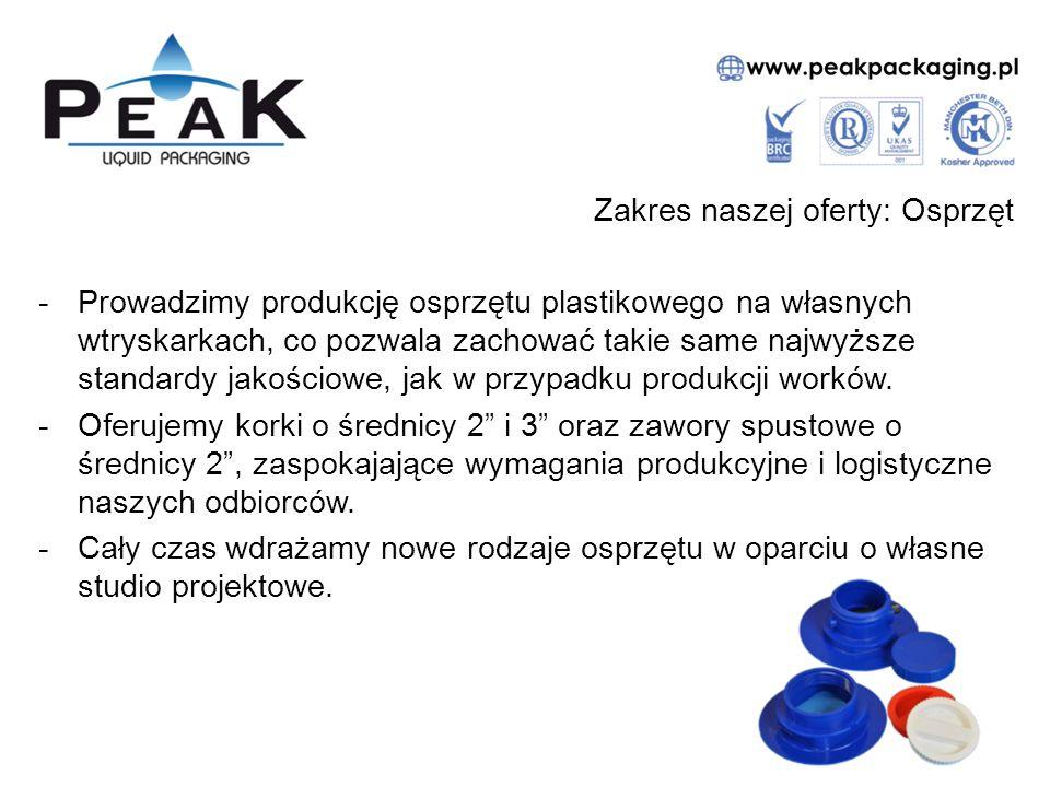 Zakres naszej oferty: Osprzęt -Prowadzimy produkcję osprzętu plastikowego na własnych wtryskarkach, co pozwala zachować takie same najwyższe standardy jakościowe, jak w przypadku produkcji worków.