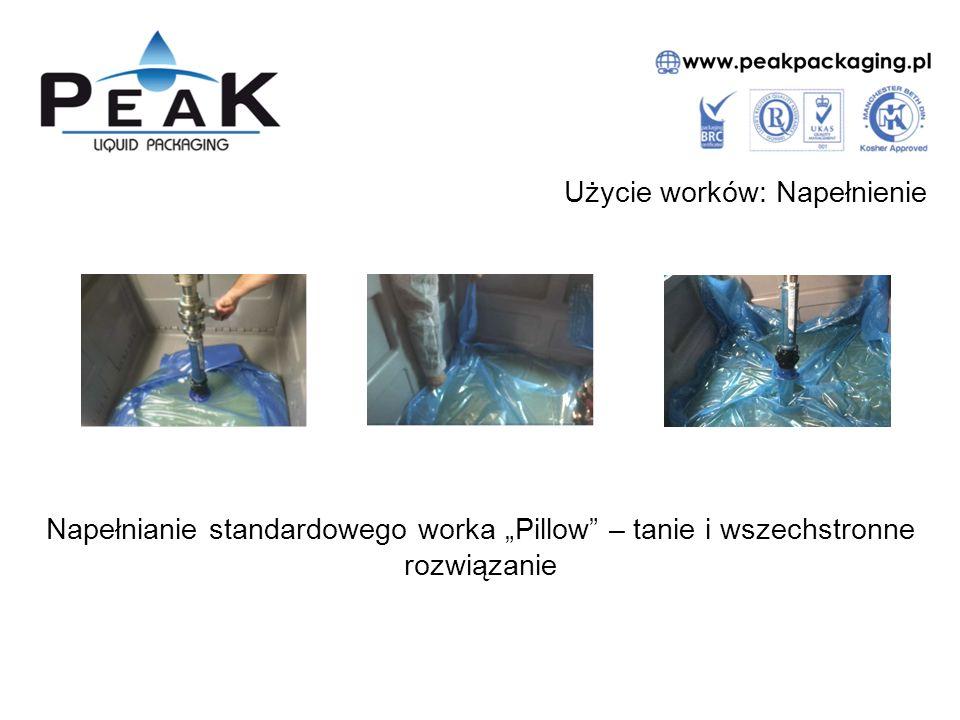 """Użycie worków: Napełnienie Napełnianie standardowego worka """"Pillow – tanie i wszechstronne rozwiązanie"""