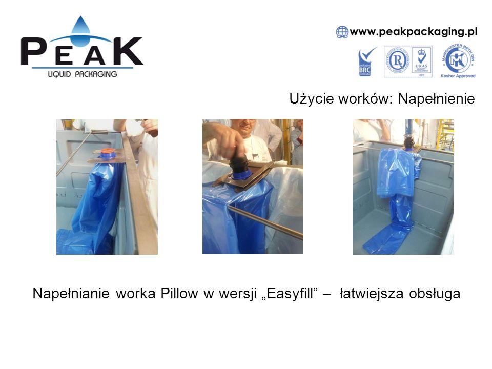 """Użycie worków: Napełnienie Napełnianie worka Pillow w wersji """"Easyfill – łatwiejsza obsługa"""