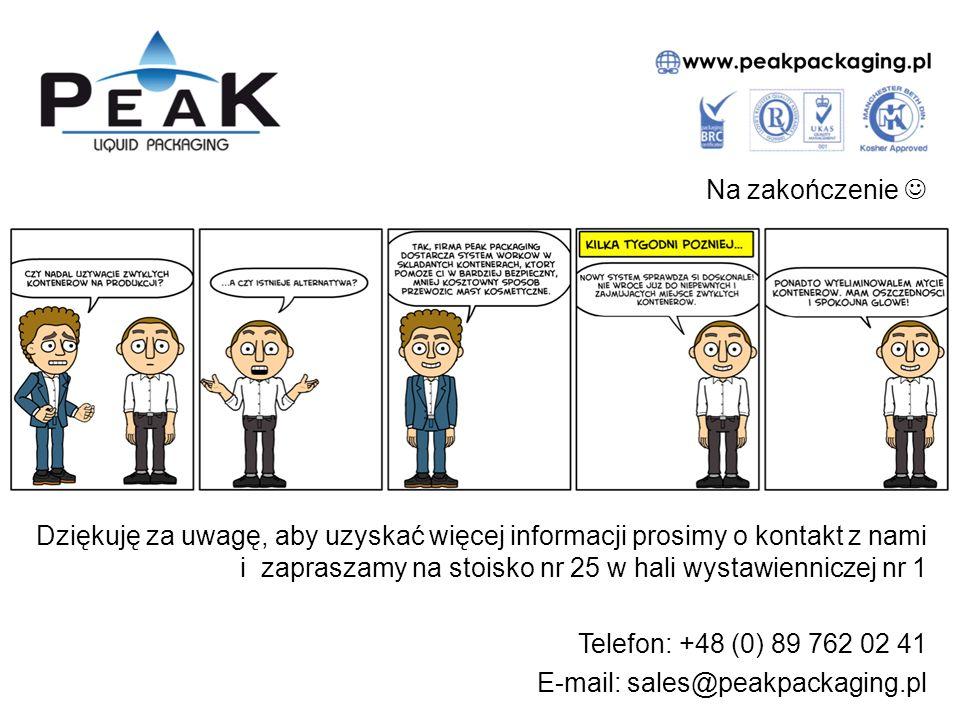 Na zakończenie Dziękuję za uwagę, aby uzyskać więcej informacji prosimy o kontakt z nami i zapraszamy na stoisko nr 25 w hali wystawienniczej nr 1 Telefon: +48 (0) 89 762 02 41 E-mail: sales@peakpackaging.pl