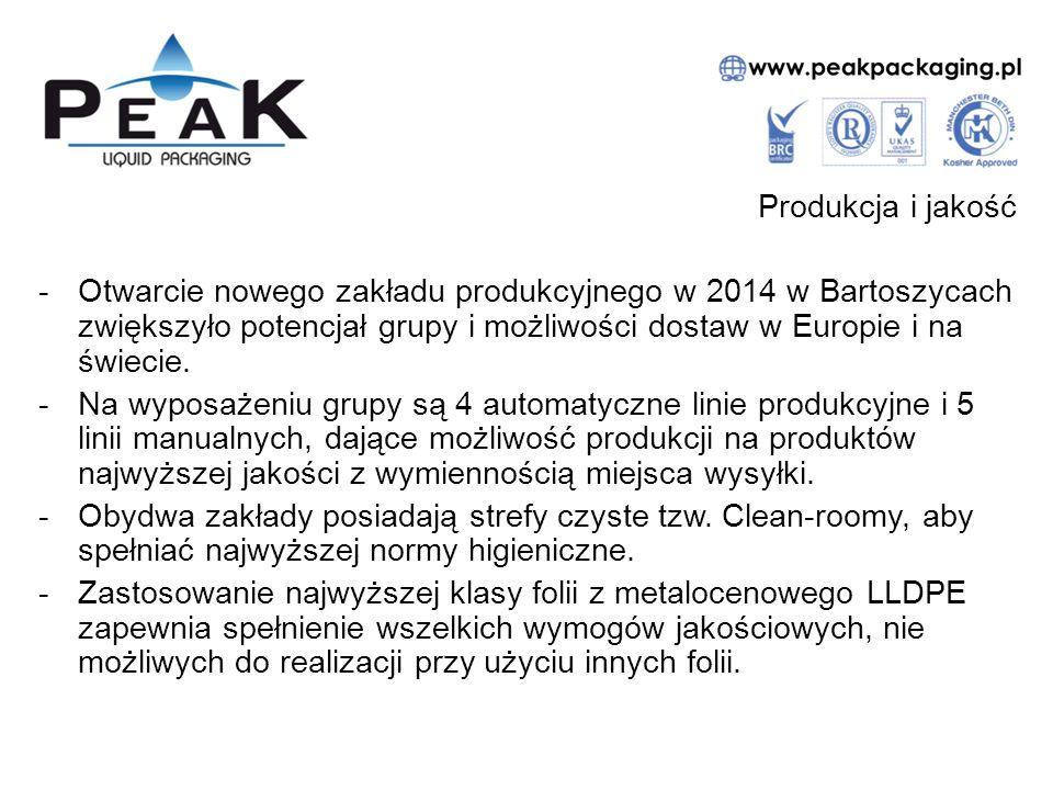 Certyfikaty jakościowe -Zakłady grupy Peak zostały zweryfikowana jako spełniający warunki norm BRC, dotyczące najwyższych standardów produkcji wkładów foliowych i osprzętu z plastiku.