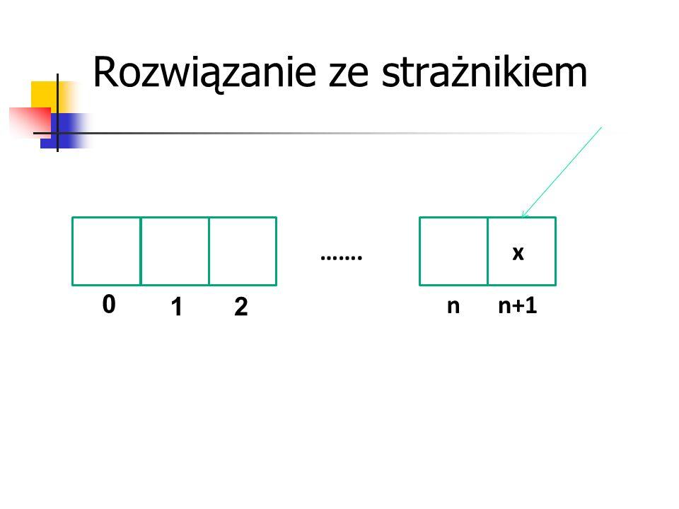 Rozwiązanie ze strażnikiem 0 12 nn+1 …….x