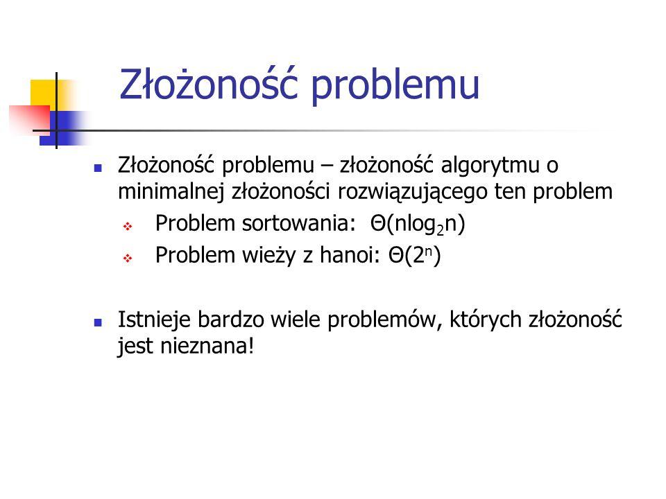 Złożoność problemu Złożoność problemu – złożoność algorytmu o minimalnej złożoności rozwiązującego ten problem  Problem sortowania: Θ(nlog 2 n)  Pro