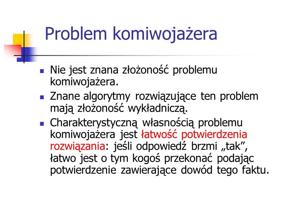 Problem komiwojażera Nie jest znana złożoność problemu komiwojażera. Znane algorytmy rozwiązujące ten problem mają złożoność wykładniczą. Charakteryst