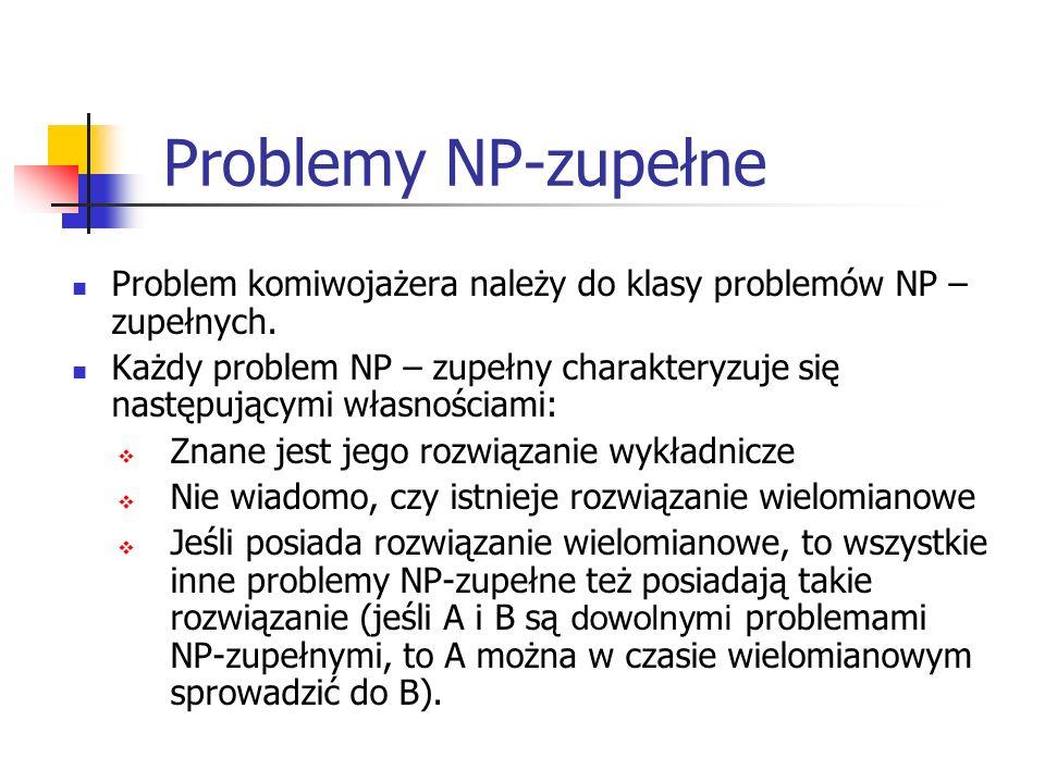 Problemy NP-zupełne Problem komiwojażera należy do klasy problemów NP – zupełnych. Każdy problem NP – zupełny charakteryzuje się następującymi własnoś