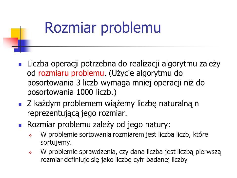 Rozmiar problemu Liczba operacji potrzebna do realizacji algorytmu zależy od rozmiaru problemu. (Użycie algorytmu do posortowania 3 liczb wymaga mniej