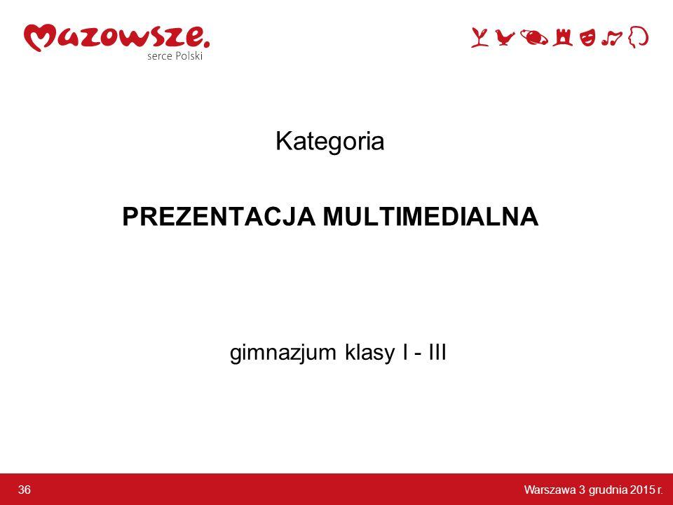 Warszawa 3 grudnia 2015 r. 36 gimnazjum klasy I - III Kategoria PREZENTACJA MULTIMEDIALNA