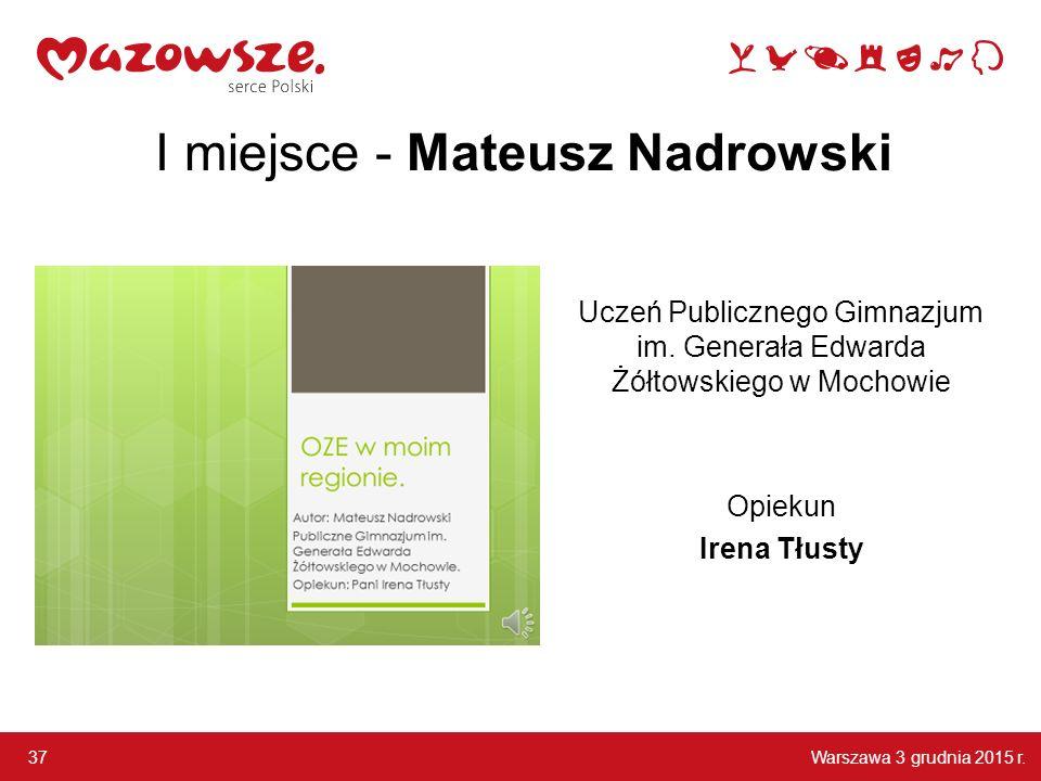 Warszawa 3 grudnia 2015 r.37 I miejsce - Mateusz Nadrowski Uczeń Publicznego Gimnazjum im.