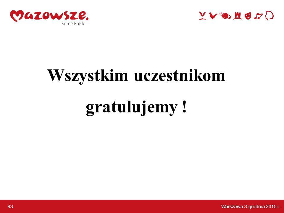 Warszawa 3 grudnia 2015 r. 43 Wszystkim uczestnikom gratulujemy !