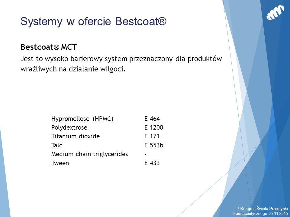 Bestcoat® MCT Jest to wysoko barierowy system przeznaczony dla produktów wrażliwych na działanie wilgoci. Systemy w ofercie Bestcoat® Hypromellose (HP