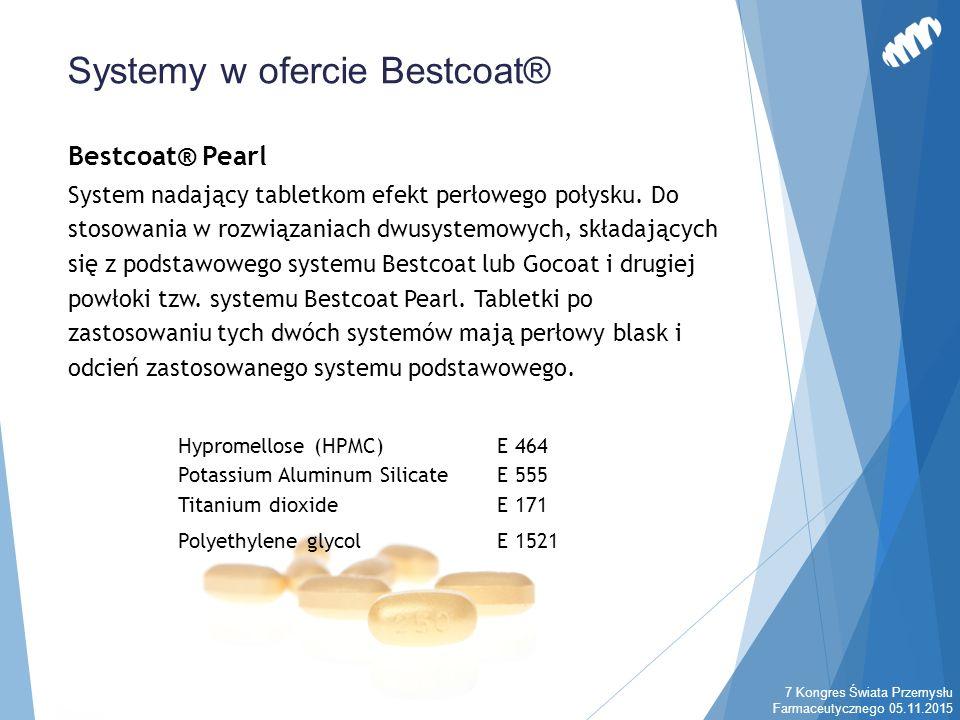 Bestcoat® Pearl System nadający tabletkom efekt perłowego połysku. Do stosowania w rozwiązaniach dwusystemowych, składających się z podstawowego syste