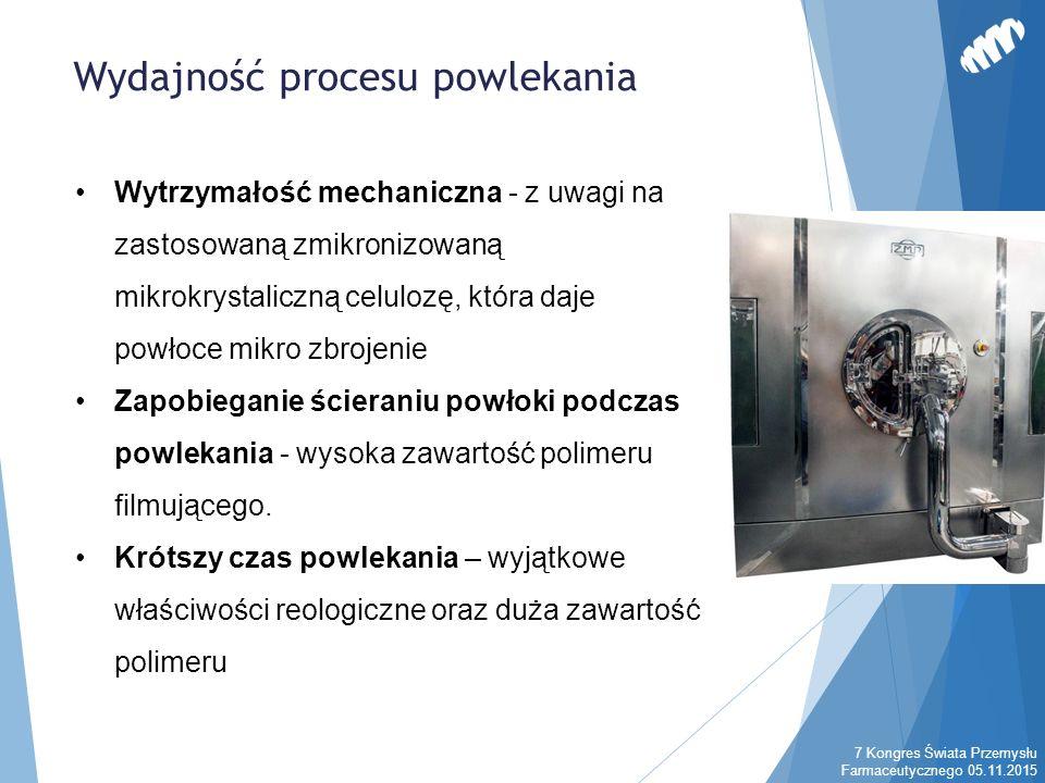 Wytrzymałość mechaniczna - z uwagi na zastosowaną zmikronizowaną mikrokrystaliczną celulozę, która daje powłoce mikro zbrojenie Zapobieganie ścieraniu powłoki podczas powlekania - wysoka zawartość polimeru filmującego.