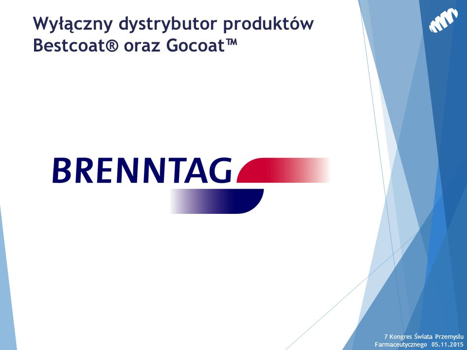 Gocoat™ - Korzyści procesowe 7 Kongres Świata Przemysłu Farmaceutycznego 05.11.2015 Wzmocnienie rdzenia tabletek już na wstępnym etapie powlekania Możliwe jest stosowanie większych obrotów bębna.