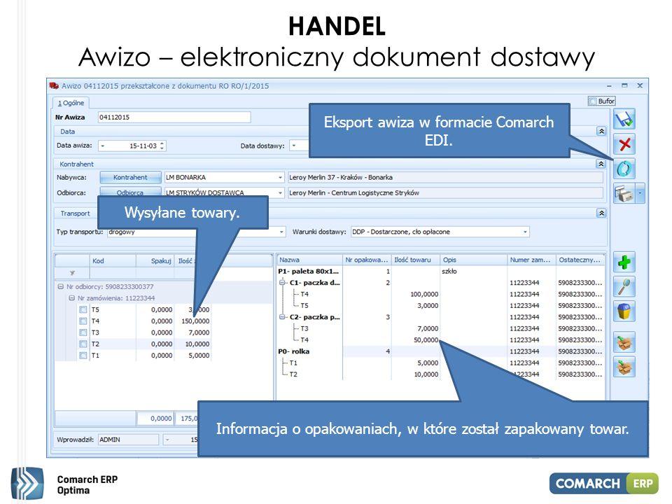 HANDEL Awizo – elektroniczny dokument dostawy Wysyłane towary.