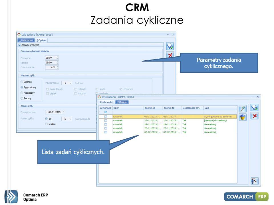 CRM Zadania cykliczne Parametry zadania cyklicznego. Lista zadań cyklicznych.