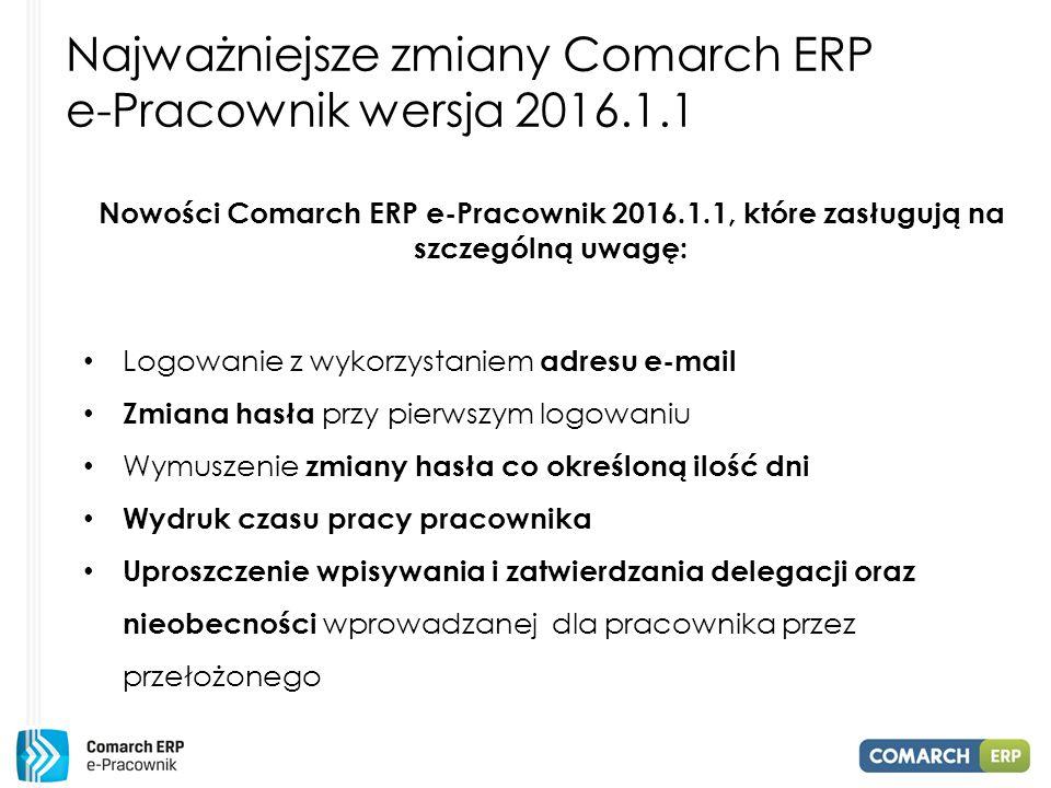 Najważniejsze zmiany Comarch ERP e-Pracownik wersja 2016.1.1 Nowości Comarch ERP e-Pracownik 2016.1.1, które zasługują na szczególną uwagę: Logowanie z wykorzystaniem adresu e-mail Zmiana hasła przy pierwszym logowaniu Wymuszenie zmiany hasła co określoną ilość dni Wydruk czasu pracy pracownika Uproszczenie wpisywania i zatwierdzania delegacji oraz nieobecności wprowadzanej dla pracownika przez przełożonego