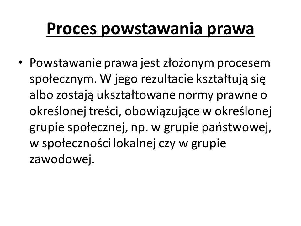 Proces powstawania prawa Powstawanie prawa jest złożonym procesem społecznym. W jego rezultacie kształtują się albo zostają ukształtowane normy prawne