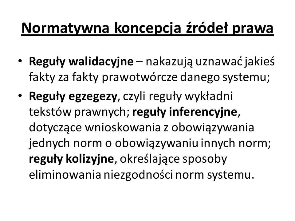 Normatywna koncepcja źródeł prawa Reguły walidacyjne – nakazują uznawać jakieś fakty za fakty prawotwórcze danego systemu; Reguły egzegezy, czyli regu