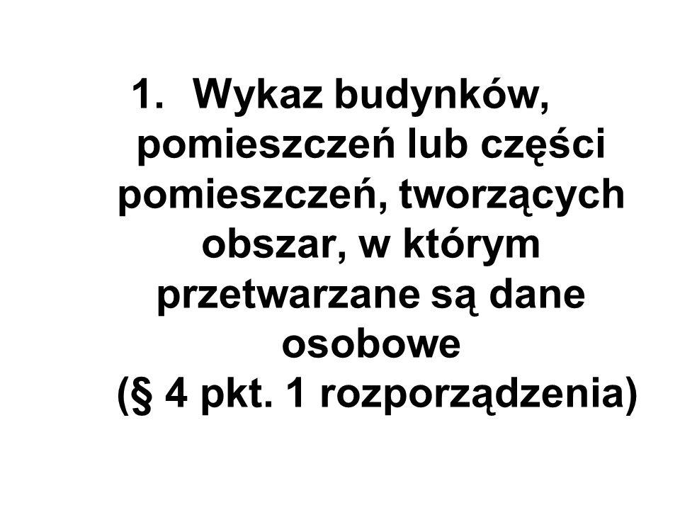 1.Wykaz budynków, pomieszczeń lub części pomieszczeń, tworzących obszar, w którym przetwarzane są dane osobowe (§ 4 pkt. 1 rozporządzenia)