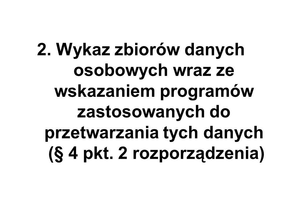 2. Wykaz zbiorów danych osobowych wraz ze wskazaniem programów zastosowanych do przetwarzania tych danych (§ 4 pkt. 2 rozporządzenia)