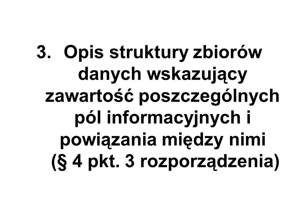 3.Opis struktury zbiorów danych wskazujący zawartość poszczególnych pól informacyjnych i powiązania między nimi (§ 4 pkt. 3 rozporządzenia)