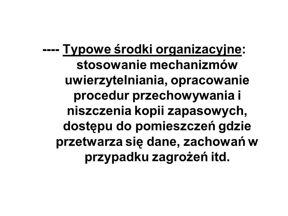 ---- Typowe środki organizacyjne: stosowanie mechanizmów uwierzytelniania, opracowanie procedur przechowywania i niszczenia kopii zapasowych, dostępu