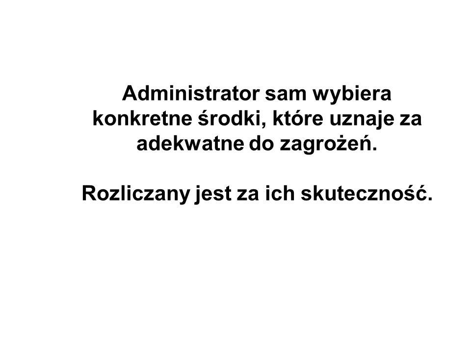 Administrator sam wybiera konkretne środki, które uznaje za adekwatne do zagrożeń. Rozliczany jest za ich skuteczność.